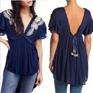Free People Fiesta Nueva Tunic Top With Embrodiery
